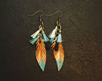 Southwest Leather Feather Earrings