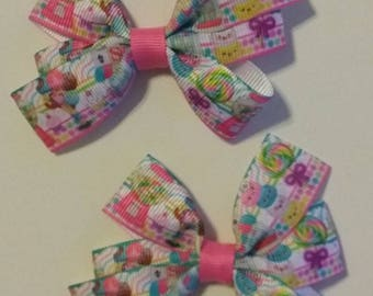 "Candy hair bow - baby hair bow - sucker hair bow - 3"" hair bow - birthday hair clip - sweet treats hair bow - party favor - ice cream bow"