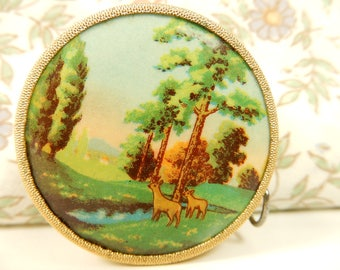 Vintage Tape Measure, Deer Forest Scene, 40cm Measuring Tape
