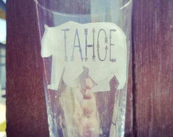 Set of 2 Etched Tahoe Bear Pint Glasses