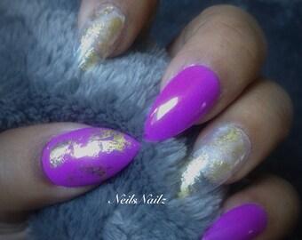 Purple and Gold Foil Medium Length Stilettos