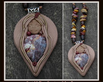 Crazy Lace Agate & Mookaite Goddess Necklace