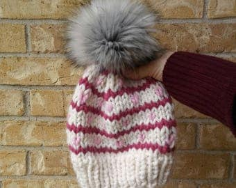 white and pink tiny heart hat,multicolor pom beanie, slouchy heart hat, stripe heart beanie, valentines tiny heart hat, hot pink,pastel pink