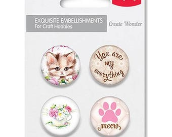 4 round metal embellishments to paste SCRAPBERRY's you're my everything