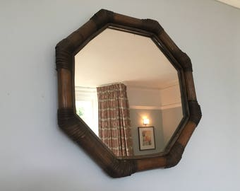 Rare Vintage French Bamboo Hexagonal Mirror 1970s Boho