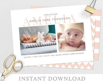 Birth Announcement, Baby Announcement, Baby Girl Announcement, Birth Announcement Girl, Baby Girl, Announcing Our New Baby, Photocard