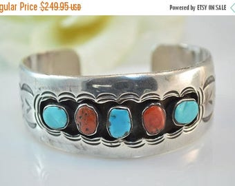 HUGE Sale Southwestern Style Turquoise & Coral Cuff Bracelet Sterling Silver 49.9g