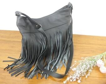 Fringe bag, Black Fringe Hobo Bag, Leather Fringe Bag,Boho Hobo,  Leather Hobo Bag, Black Leather Shoulder Bag, Boho Fringe Bag