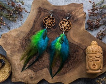 """Wooden and feather earrings flower of life """"Northern Lights"""""""