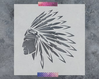 Native American Indian Stencil - Reusable DIY Craft Native American Indian Stencil