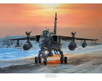 Aviation art print. SEPECAT Jaguar GR3. Limited edition signed by artist. RAF jet. Airplane art. Present for him. Spitfire. Giclee.