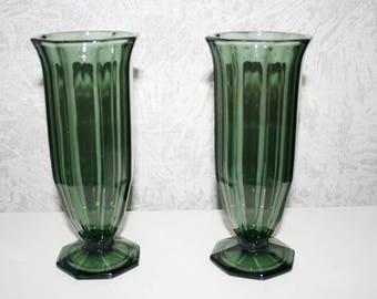 2 Art Deco glass vases, grey, Bauhaus Design, Vintage