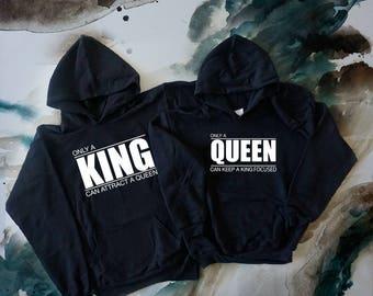 CUSTOM King and Queen// Couple Hoodie Set, Couple Hoodies, Wedding Hoodies, Groom Hoodie, Bride Hoodie, Popular Black Hoodies