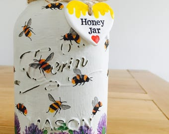 Handmade Busy Bee Honey Mason Jar with Clay Tag