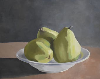 Pear Trio 16x20 original oil on wrap canvas, pear art, fruit art, still life art,pears