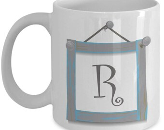Farmhouse Coffee Mugs - Farmhouse Style Dishes Monogrammed Mug - R Initial Mug - Letter R Mug - Monogram Coffee Mug - 11 oz Tea Cup