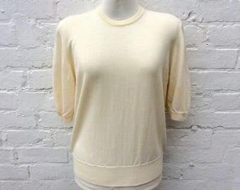 Vintage knit top, lemon sweater, retro short sleeved pullover
