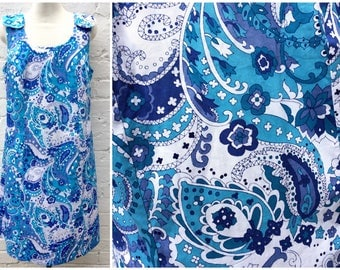 70's dress, vintage pinafore style, retro paisley pattern, women's fashion