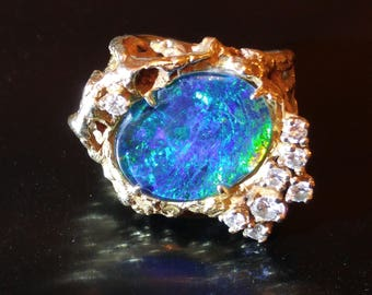 Beautiful One of a Kind Ladies Black Opal and Diamond Ring size 8.5