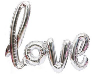 Love Script Balloons   Love Balloons   Wedding Decor   Photo Prop   Valentine's Day Decorations