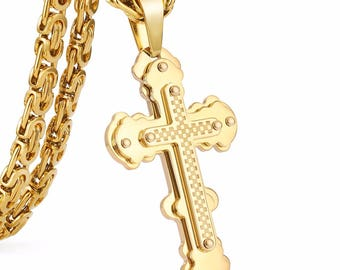 9CT 9K Men Cross Pendant Necklace Stainless Steel Byzantine Link Chain