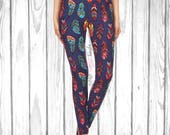 Gorgeous Blue Multicolored Feather Leggings - Free Shipping