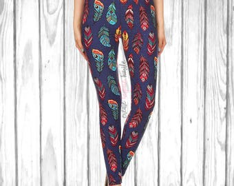 Gorgeous Blue Multicolored Feather Leggings