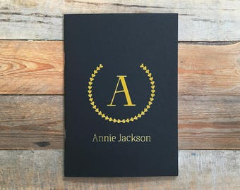 Personalised Black and Gold Foil Monogram Notebook, 20 Plain A5 Pages, Bullet Journal, Sketch Book, Black Cover
