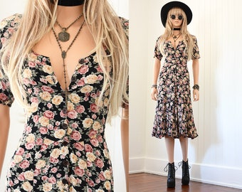 Black Floral Dress 90s Grunge Dress Floral Maxi Dress Boho Dress 90s Dress Floral Dress Vintage 90s Clothing Floral Maxi Bohemian Dress XS S