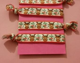 Set of 4 Christmas elastic Hair ties