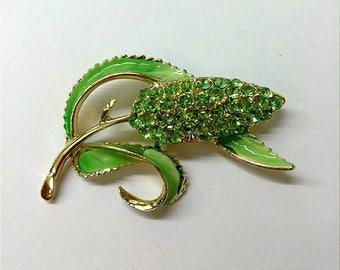 Vintage Green Enamel and Rhinestone Wheat Brooch, Rhinestone Flower Brooch, Sparkly Brooch Pin, Boutique, Accessories, Fashion Jewelry