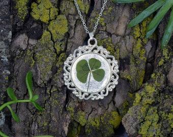 Genuine 4 Leaf Clover Cameo Necklace [AC 021] / Silver Plated / White Clover Pendant / Triforium Repens Clover / Good Luck Charm