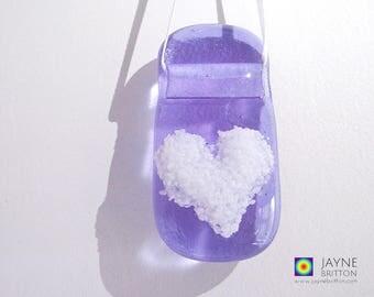 Purple and white heart light catcher, violet suncatcher, fused glass gift, window gift, stocking filler, teachers gift, gift under 5