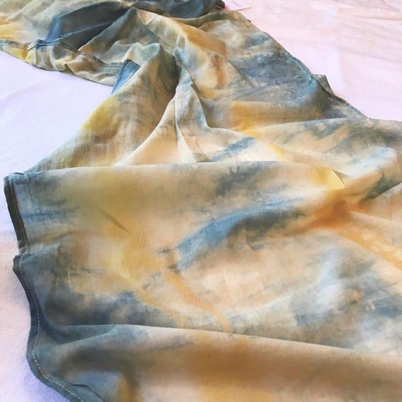 """Indigo/Yellow Plant Dyed Organic Cotton Wrap, 18x72"""""""