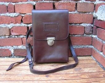 Messenger Leather Bag Vintage Military Officer Crossbody Bag Shoulder Bag IPad Case Brown Mans Bag Gift for Him