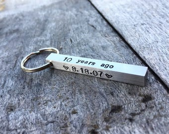 Anniversary handstamped keychain 4 sides, ideal for a special gift