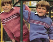 knitting pattern boys girls fair isle jumper sweater ages 4 to teens double knitting chunky pdf