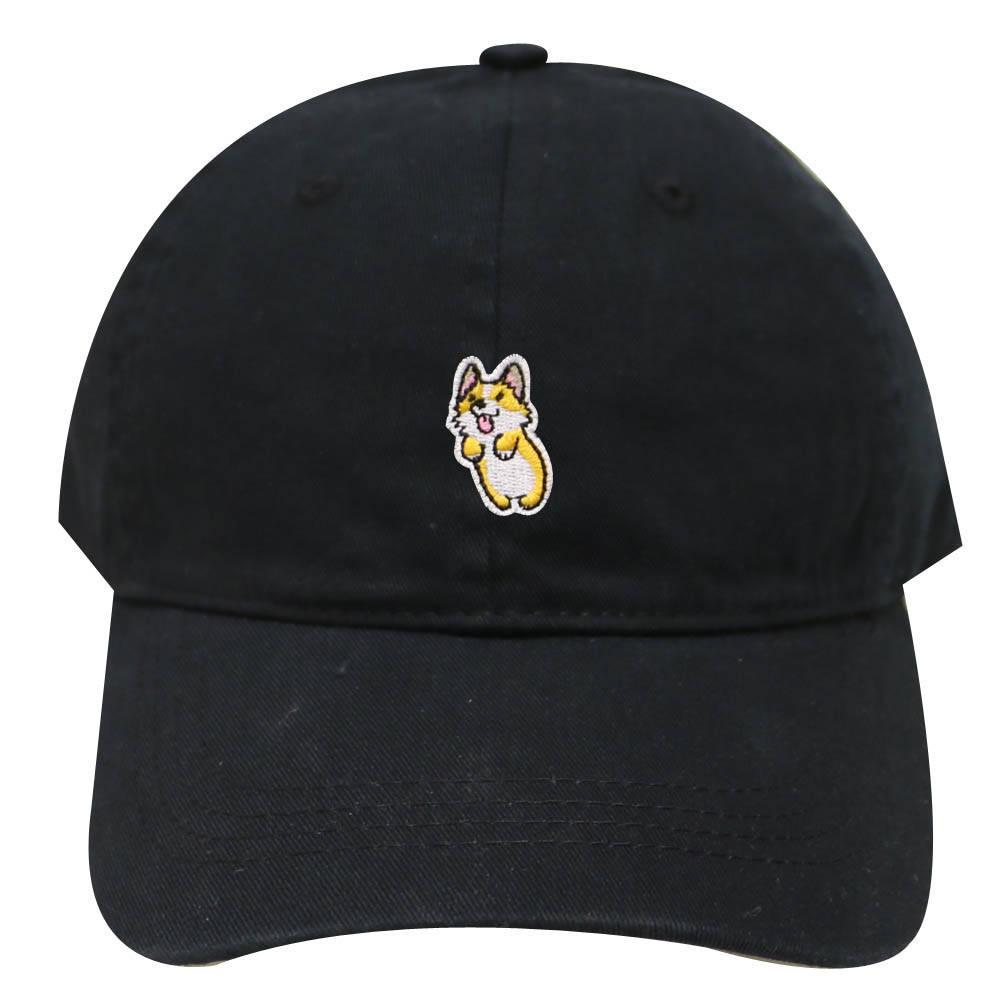 Capsule Design Cute Welsi Corgi Cotton Dad Baseball Cap Black eb8161bc44d4