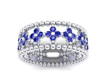Clover Ring, Clover Blue Sapphire Ring, Bead Ring, Clover Blue Sapphire Bead Ring, Clover Bead Ring, Blue Sapphire Ring, Wedding Ring, Gift
