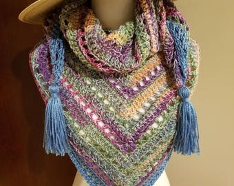 Water Colors- Triangle Crochet Scarf with Tassels