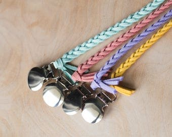 Pacifier Clip - Faux Suede Soother Clip - Braided Soother Clip - Lasso Paci Clip -