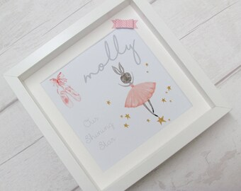 new baby gift, Personalised girls frame, personalised baby gift, girls decor, ballerina, girls room accessory, personalised ballet, gift