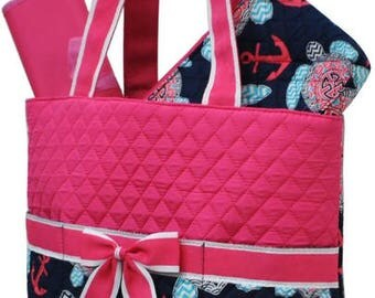 Quilted 3pc Diaper Bag set
