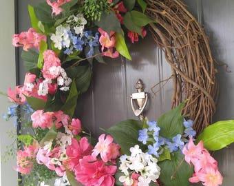 Flower Wreath, Wreath, Door Wreath, Grapevine Wreath