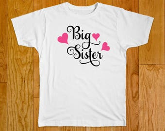Big Sister Shirt - Personalized with Name - Part of the Matching Big Middle Sister Swirl Heart Shirt Set
