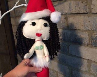 "Handmade Felt Santa Claus Mermaid Doll  Collectible 16"""