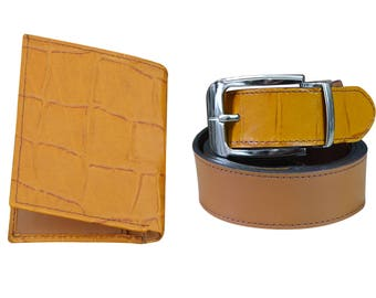 Luxurious Wallet & Belt Crocodile Texture Leather Pair for Men