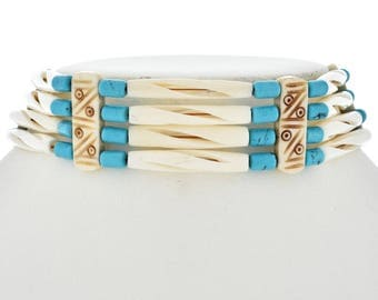 Indian Turquoise Bone Choker Traditional Four Strand