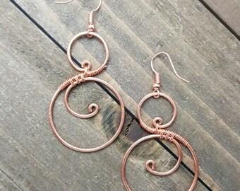 Handmade Copper Wire Wrapped Earrings