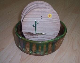 Sandstone coaster set  in ceramic dish